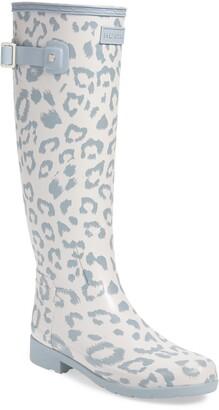 Hunter Leopard Print Refined Tall Waterproof Rain Boot