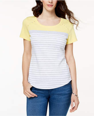 Karen Scott Striped Grommet-Detail T-Shirt, Created for Macy's