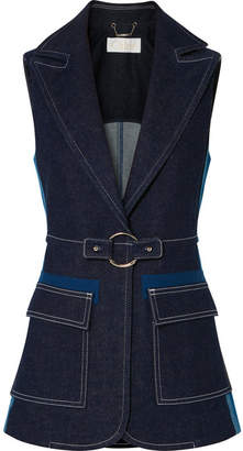 Chloé Two-tone Denim Vest - Navy