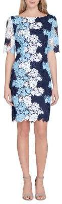 Tahari Arthur S. Levine Multi-Color Lace Sheath Dress