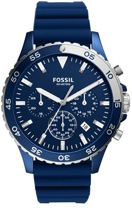 Fossil Crewmaster Chronograph Silicone Strap Watch, 46Mm $165 thestylecure.com