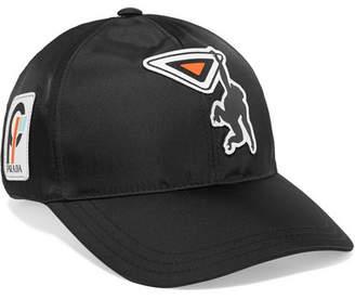 Prada Appliquéd Shell Baseball Cap - Black