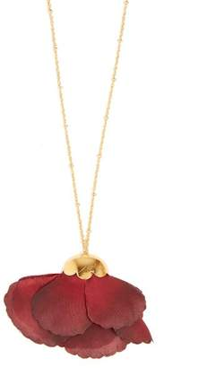 Elise Tsikis - Cuidad Silk Flower & 18kt Gold Necklace - Womens - Red