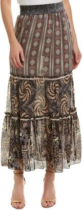 Anna Sui Ribbons Of Roses Lurex Jacquard Silk-Blend Maxi Skirt