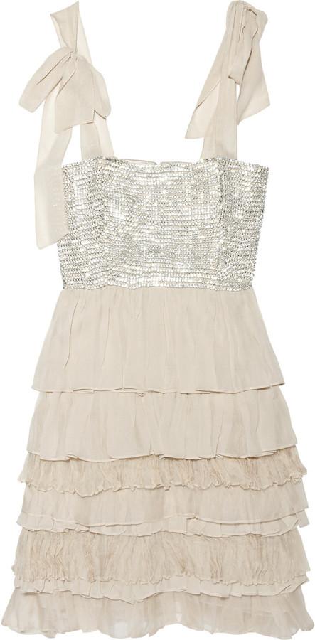 Alice + Olivia Marianna tiered silk-blend dress