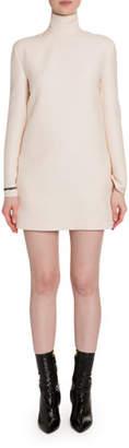 Valentino Crepe Flare-Sleeve Mock-Neck Dress