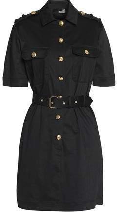 Button-Detailed Twill Mini Dress