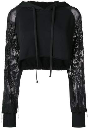 Amen cropped hoodie with embroidered sheer sleeves
