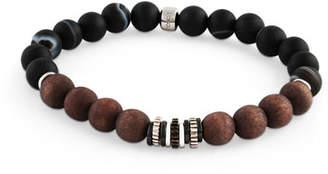 Tateossian Men's Frosted Wood-Bead Bracelet