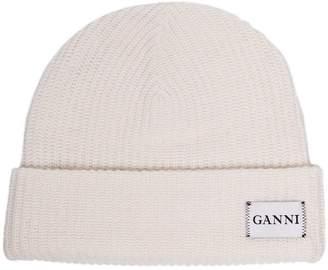 Ganni white knitted ribbed wool blend beanie