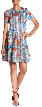 Catherine Malandrino Short Sleeve Printed Dress