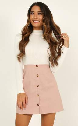 Showpo How About It skirt in blush linen look - 6 (XS) Mini Skirts