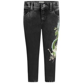 Gucci GUCCIBoys Black Marble Wash Dragon Jeans