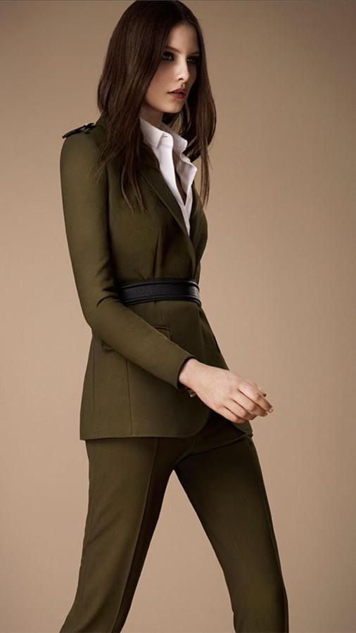 Burberry Leather Epaulette Stretch Wool Jacket