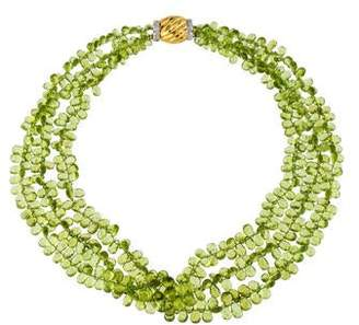 Splendid 18K Diamond & Peridot Multistrand Necklace
