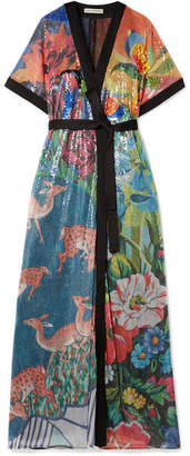 Mary Katrantzou Natalia Satin-trimmed Sequined Tulle Wrap Maxi Dress - Blue