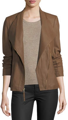 Via Spiga Ponté-Panel Asymmetric Zip Leather Jacket