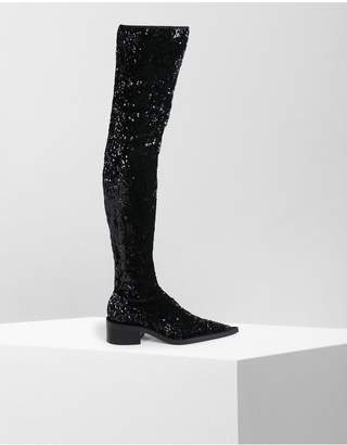 Maison Margiela Sequined Thigh-High Boots