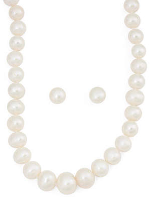 Sterling Silver Pearl Necklace And Earring Gift Boxed Set