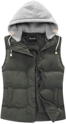 Wantdo Women's Lightweight Quilted Outdoor Puffer Vest Jacket Hooded Coat with Pocket