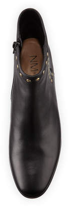 Neiman Marcus Anais Flat Leather Booties