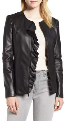 Via Spiga Center Ruffle Leather Jacket