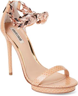 Roberto Cavalli Beige Embossed Chain Ankle Strap Sandals