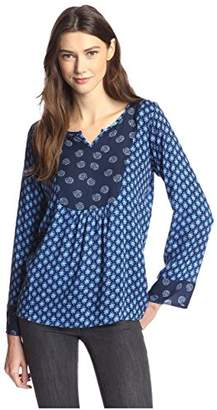James & Erin Women's Mixed Print Top