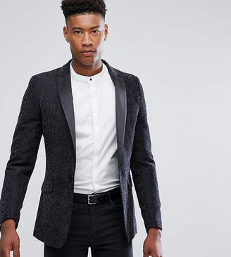 Gianni Feraud TALL Textured Flocked Blazer with Peak Lapel Satin Collar