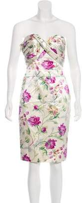 Christian Dior Strapless Floral Print Dress