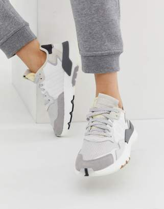 adidas white and grey Nite Jogger trainers