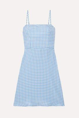 HVN Nora Gingham Silk Crepe De Chine Mini Dress - Light blue