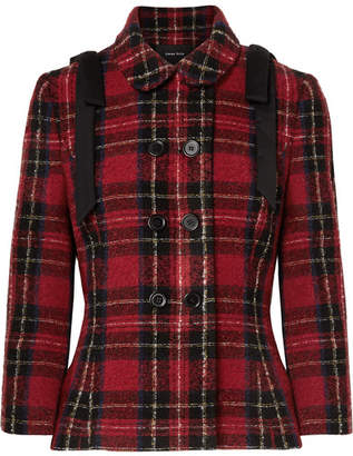 Simone Rocha Bow-embellished Tartan Tweed Jacket - Red