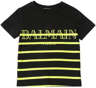 Balmain Logo Print Striped Cotton Jersey T-Shirt