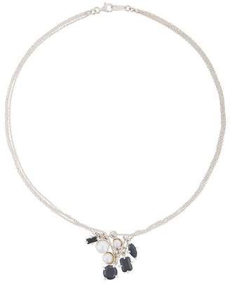 E.m. pearl and silver pendant necklace