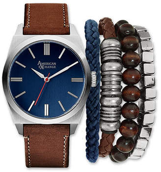 GENEVA Mens Brown And Silver Tone Strap Watch And Bracelet Set Mst5183S100-709