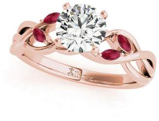 Rubie's Costume Co Allurez Twisted Round and Moissanite Engagement Ring 14k Rose Gold (0.50ct)