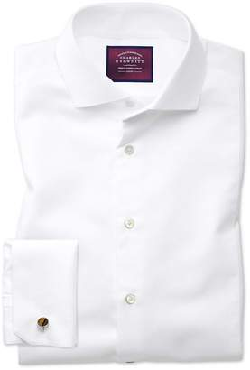 Charles Tyrwhitt Slim Fit Spread Collar Non-Iron Luxury Marcella Bib Front White Cotton Dress Shirt French Cuff Size 15/33