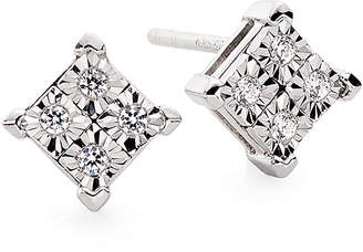 JCPenney FINE JEWELRY Diamond-Accent 10K White Gold Quad-Framed Stud Earrings
