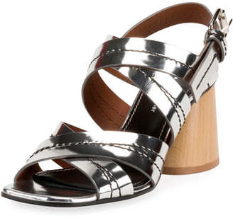 Proenza Schouler Mirrored Wood-Heel Sandals