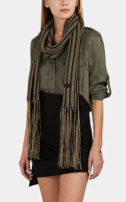 Saint Laurent Women's Metallic-Striped Wool-Blend Scarf - Gold
