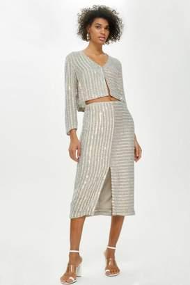 Topshop Iridescent Sequin Skirt