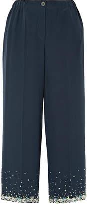 Miu Miu Cropped Embellished Silk Crepe De Chine Wide-leg Pants - Navy