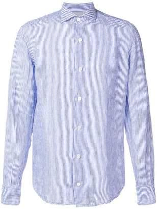 Eleventy striped spread collar shirt