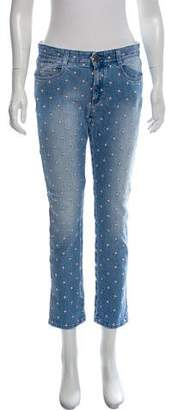 Stella McCartney Star Embroidered Mid-Rise Skinny Jeans