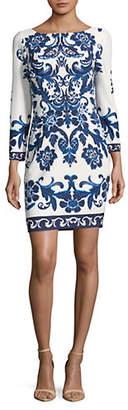 Eliza J Printed Quarter Sleeve Sheath Dress