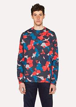 Paul Smith Men's Red Camouflage Print Cotton Long-Sleeve T-Shirt