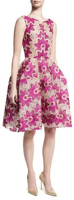 Zac Posen Floral-Embroidered Sleeveless Fit-and-Flare Dress, Magenta $2,290 thestylecure.com