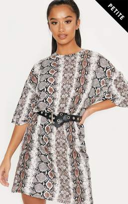 PrettyLittleThing Petite Taupe Snake Print Oversized T-Shirt Dress