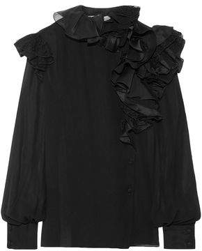Lanvin Lace-Trimmed Ruffled Silk-Chiffon Blouse